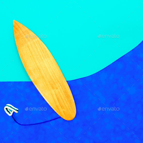 Surfing vibes minimal art design - Stock Photo - Images