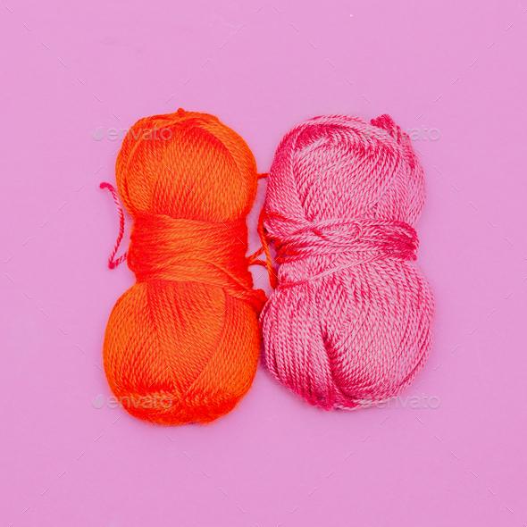 Yarn. Hobby. Minimal art design - Stock Photo - Images