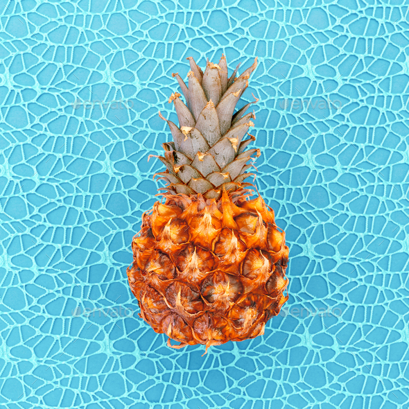 Mini pineapple fashion Sea concept Minimal art design Candy Colo - Stock Photo - Images
