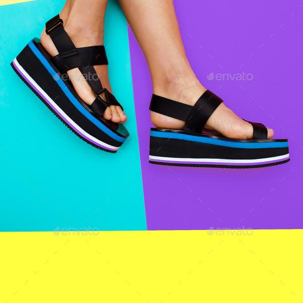 Platform summer trend. Stylish shoes for girls - Stock Photo - Images