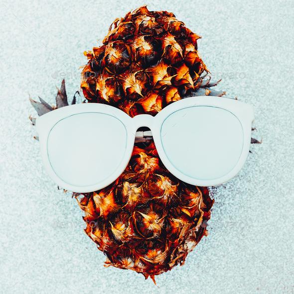 Pineapple person Minimal art idea - Stock Photo - Images