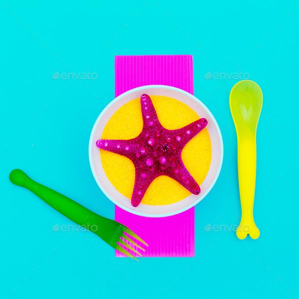 Sea for breakfast. Starfish. Minimal art - Stock Photo - Images
