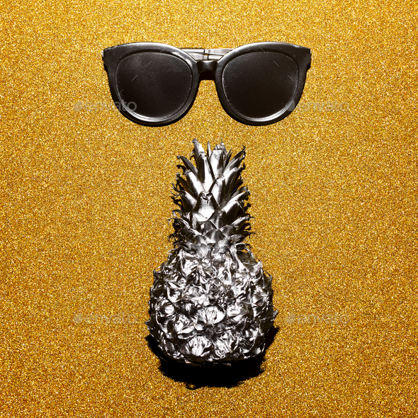 Silver set vacation. Sunglasses and pineapple, beach fashion sty - Stock Photo - Images