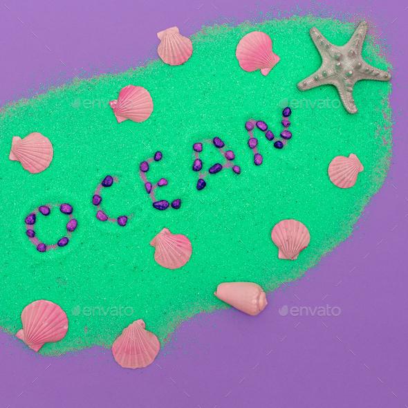 Ocean set Pastel colors Minimal art fashion style - Stock Photo - Images