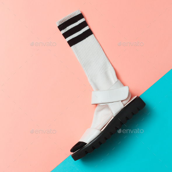 Sandals and socks. Summer minimal creative. Hipster style Top vi - Stock Photo - Images
