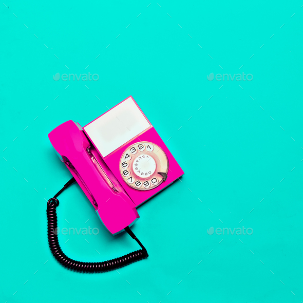 Vintage pink phone. Minimal design - Stock Photo - Images