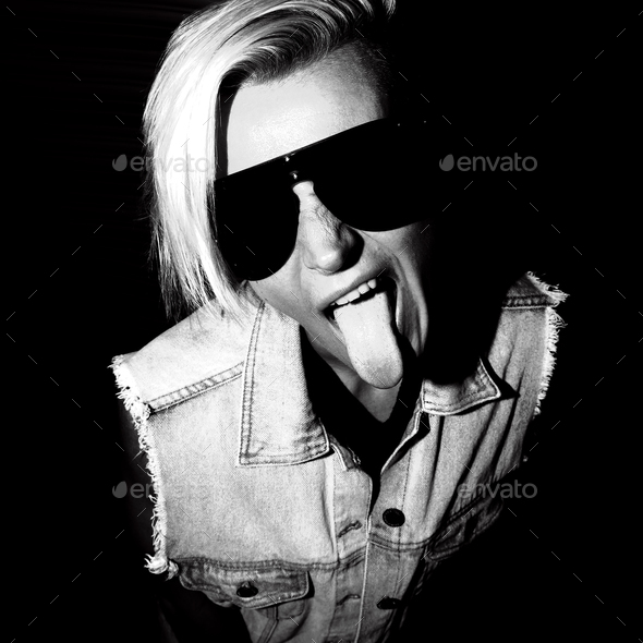 Portrait Swag Blonde Black-and-white Party style - Stock Photo - Images
