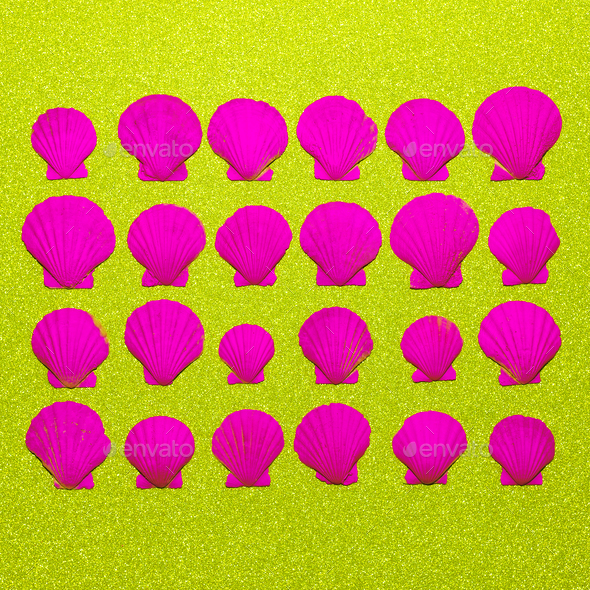 Set pink neon shells. Ocean vibes Minimal art - Stock Photo - Images
