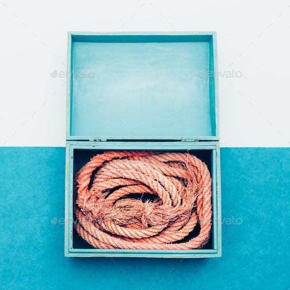 Ocean souvenirs. Sea rope in the box. Minimal design. - Stock Photo - Images