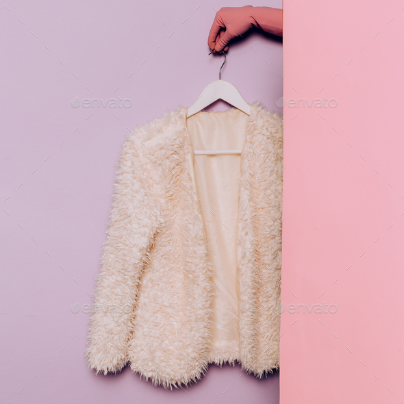 Stylish clothes. White coat. Spring. wardrobe ideas trend - Stock Photo - Images