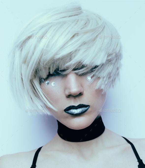 Sensual blonde haircut Stylish Fashion Velvet Choker Necklace - Stock Photo - Images