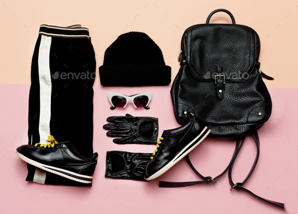 Fashion Black Outfit Accessories For Women. Beanie Backpack Sne - Stock Photo - Images