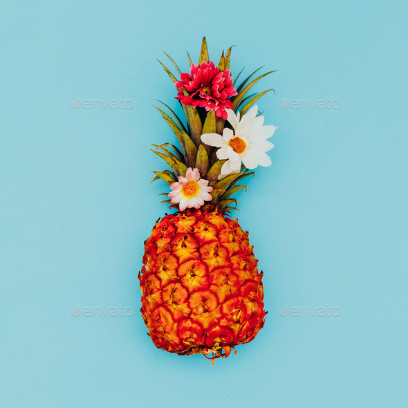 Pineapple and beautiful flowers. Tropical mood. Minimal style - Stock Photo - Images