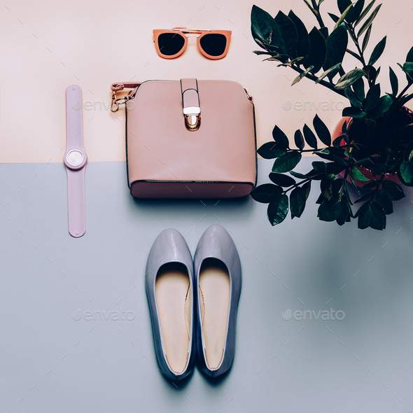 Ladies Fashion Accessories. Pink bag and sunglasses. Trendy Shoe - Stock Photo - Images