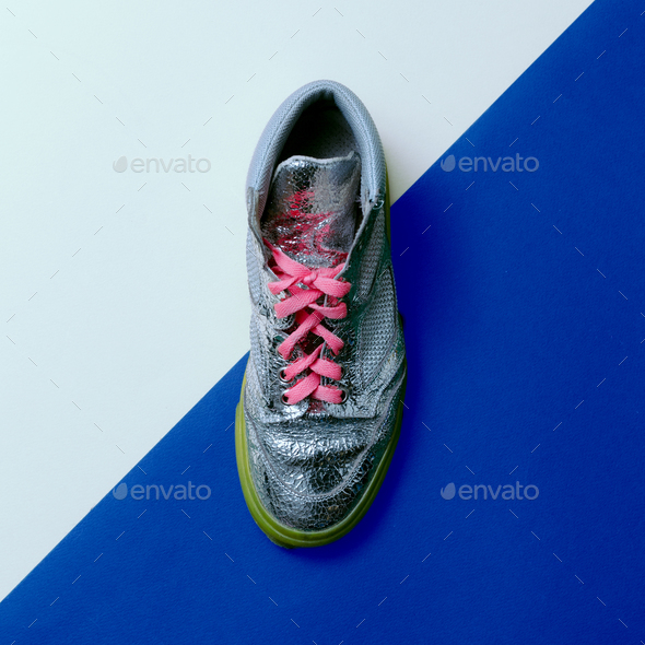 Silver Disco style. Trendy sneakers. minimal design - Stock Photo - Images