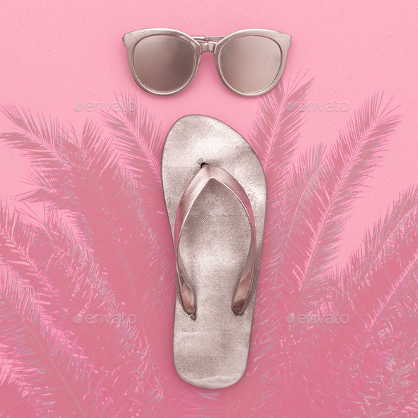 Silver set vacation. Flip-flops and sunglasses, beach fashion st - Stock Photo - Images