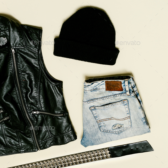 Black fashion set. Black Vest and black accessories. Beanie Urba - Stock Photo - Images
