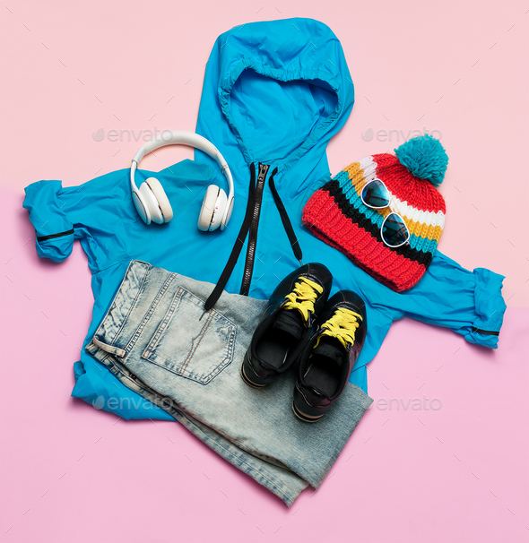 Set of clothes. Top view Blue cloak and bright accessories. Hips - Stock Photo - Images