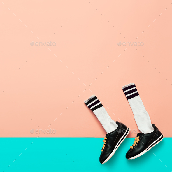 Fashion Sneakers and Hipster Socks. Art minimal style design Bri - Stock Photo - Images