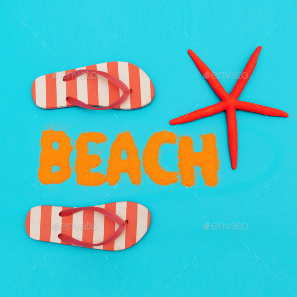 Beach mood. vacation time. Minimal art set - Stock Photo - Images