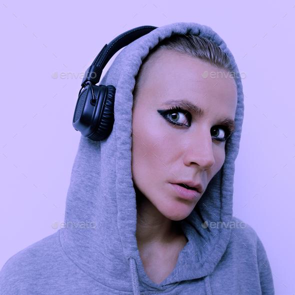 Girl in stylish headphones. DJ vibes - Stock Photo - Images