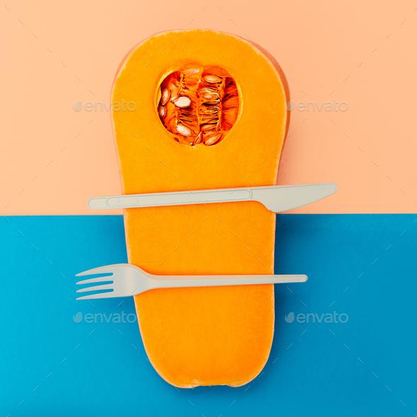 Pumpkin Minimal art gallery design - Stock Photo - Images