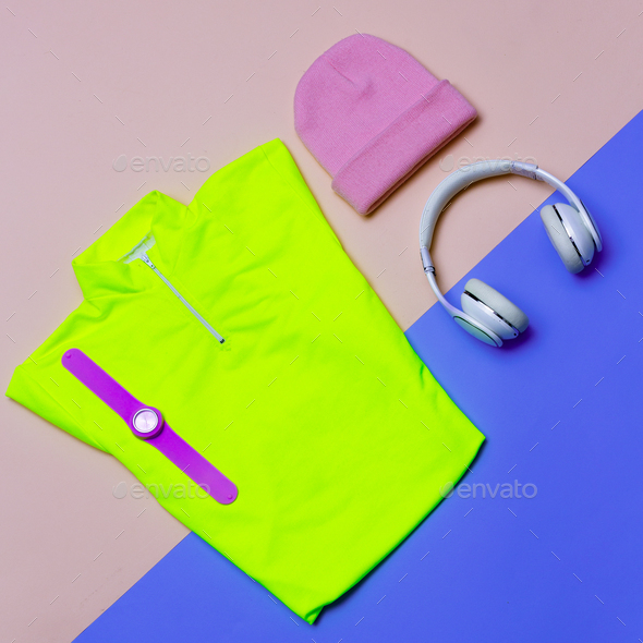minimal Sports Set T-shirt Cap Sneakers Bright outfit trend clot - Stock Photo - Images