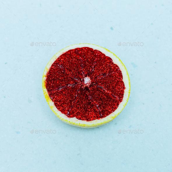 Minimal Art Citrus Grapefruit glitter Still Life - Stock Photo - Images