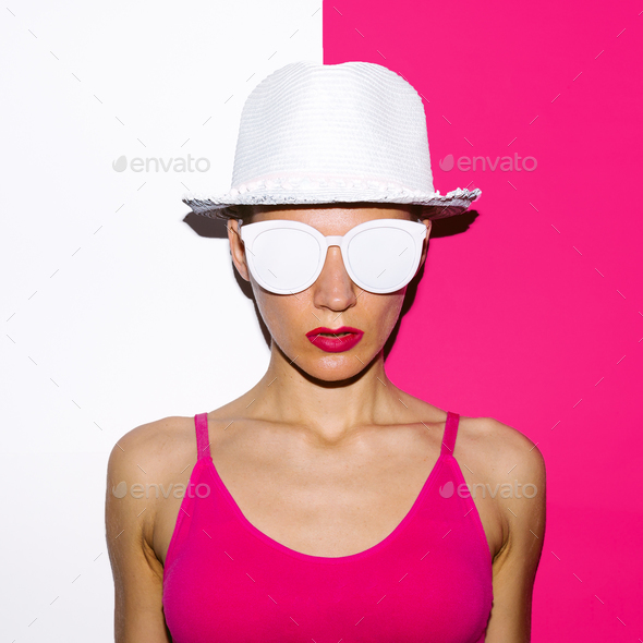 Girl Pop Art Style beach hat and sunglasses - Stock Photo - Images