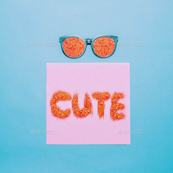 Be cute. Sunglasses fashion minimal art - Stock Photo - Images