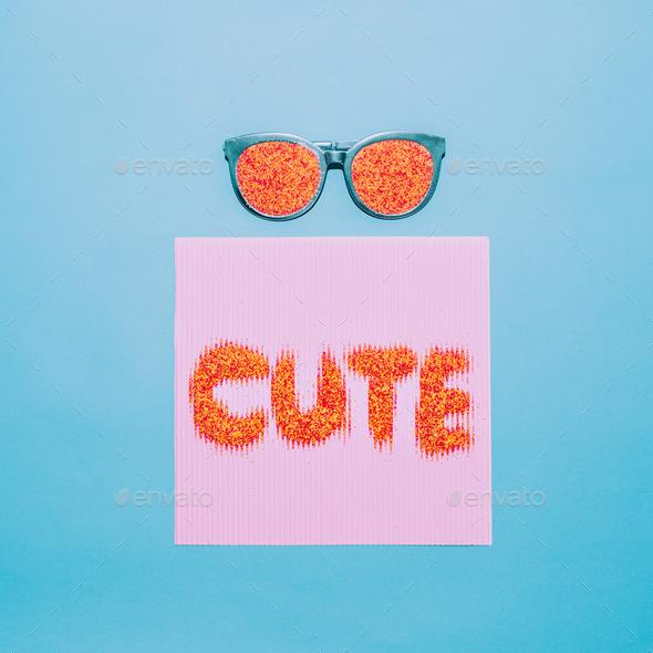 Be cute. Sunglasses fashion minimal art - Stock Photo - Images