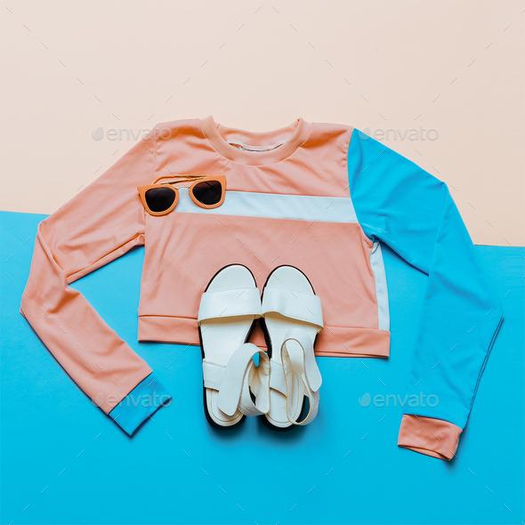 Stylish sports blouse. Geometry. Creative. Minimal. White Sandal - Stock Photo - Images