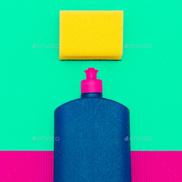 bottle of cleaning agent and a sponge. Minimal art - Stock Photo - Images