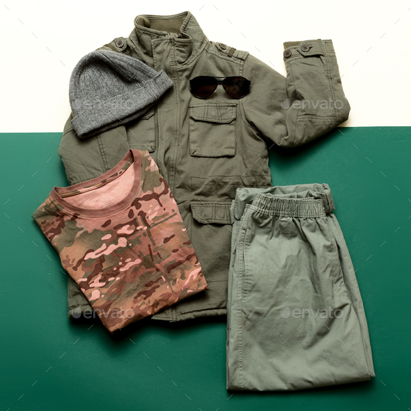 Clothing Set Military Soldier Outfit style Minimalism fashion - Stock Photo - Images