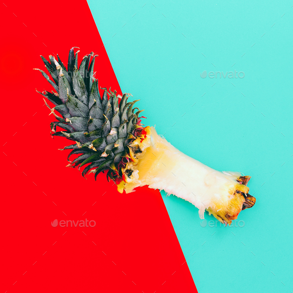 Remains of Pineapple. Minimal Tropic Art - Stock Photo - Images