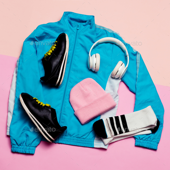Fashionable Sports Jacket, Urban style.Accessories headphones, g - Stock Photo - Images