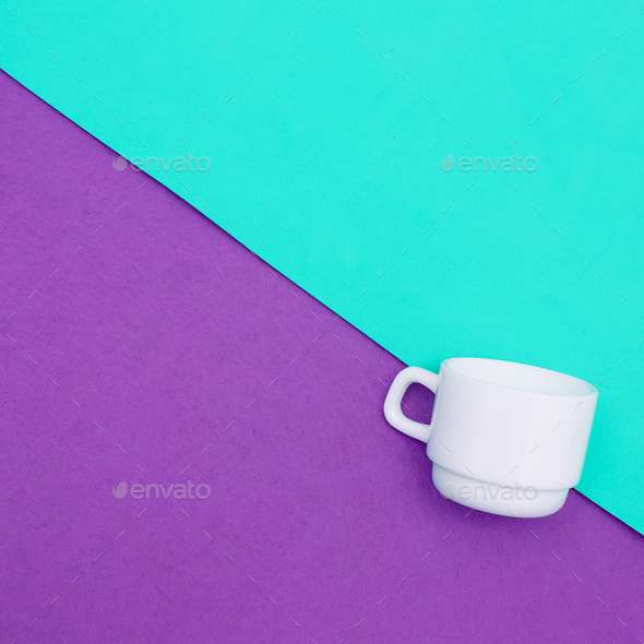 Coffee cups. Minimal art. Candy colors - Stock Photo - Images