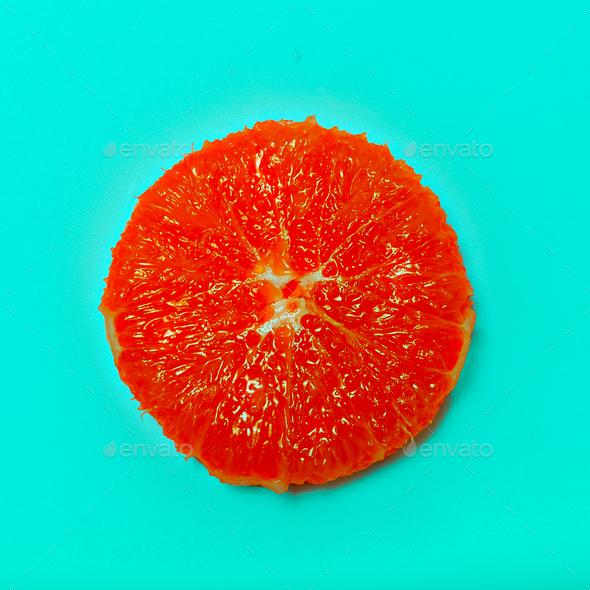 Grapefruit minimal art Flat lay - Stock Photo - Images