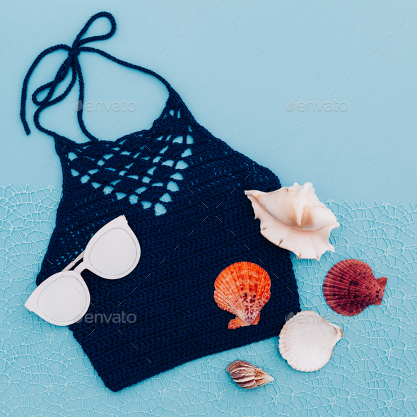 Knitted top. Beach hippy style. Minimal trend - Stock Photo - Images