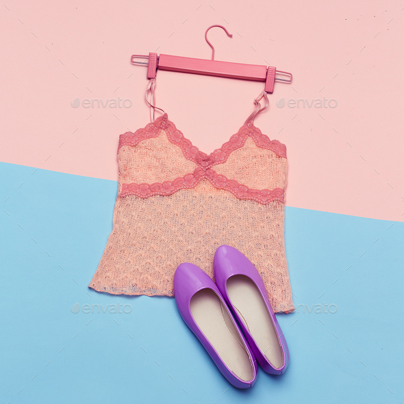 Romantic Summer Outfit Top and shoes for Lady Top View - Stock Photo - Images