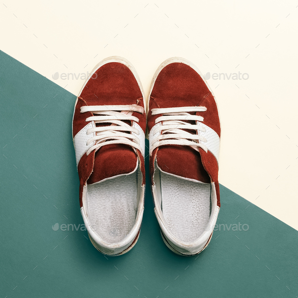 Skateboard style. Trendy sneakers. minimal design - Stock Photo - Images