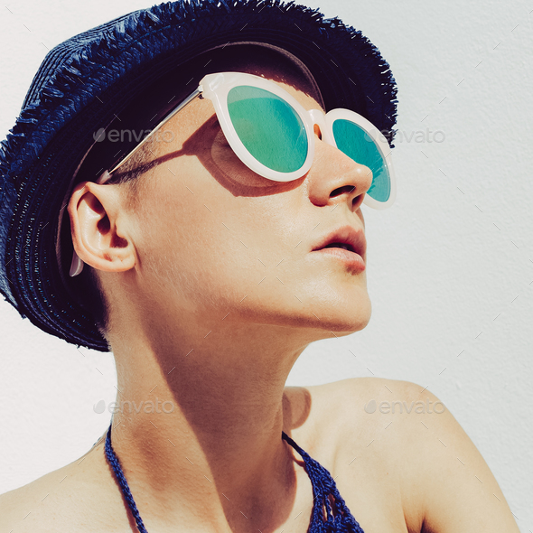 Hipster Girl Sun Time Summer Style Boho straw hat and sunglasses - Stock Photo - Images