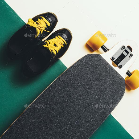 Sneakers and SkateboardUrban Style fashion Minimal Design - Stock Photo - Images