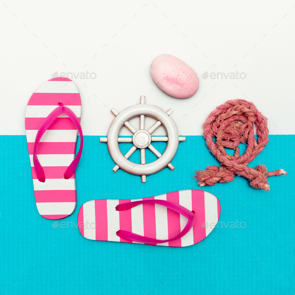 Sea set. Vacation. Minimal art design - Stock Photo - Images