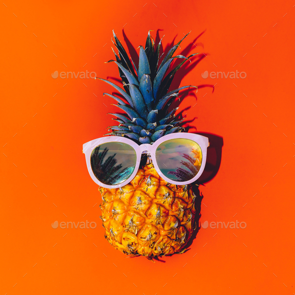 Tropical style. Pineapple in sunglasses. Summer Cocktail - Stock Photo - Images