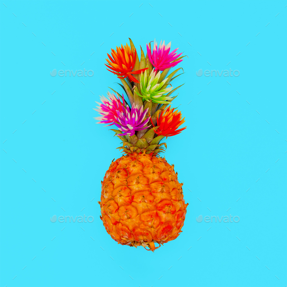 Tropical mood. Minimal style Pineapple fashion art - Stock Photo - Images