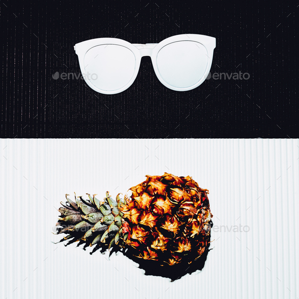 Pineapple and sunglasses. White black minimal - Stock Photo - Images