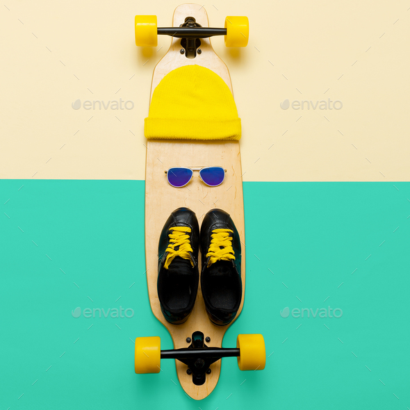 Set skateboarder. Stylish active life. Sneakers, sunglasses, ska - Stock Photo - Images