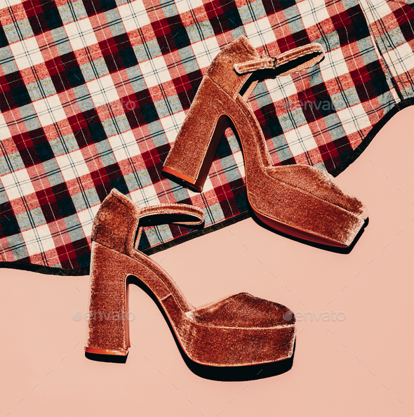 Fashion high heels and plaid shirt. Country style details. Top v - Stock Photo - Images