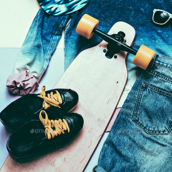 Set Fashion Denim clothing and accessories Cap Skateboard Sneake - Stock Photo - Images